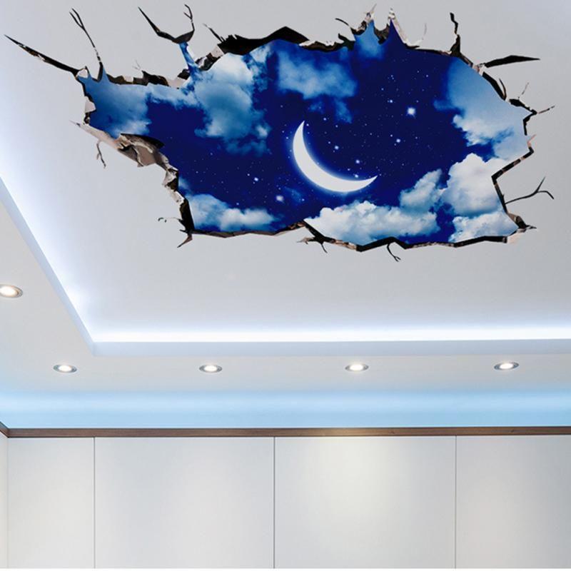 3d Hole View Vivid Sky Moon Ceiling Floor Wall Sticker