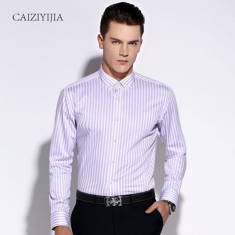c204f43b4ee88 Compre Moda 2016 Para Hombre Púrpura   Blanco Rayas Camisas De Vestir De  Manga Larga Con Botones De Ajuste Delgado Algodón No Hierro Comodidad Suave  Camisa ...