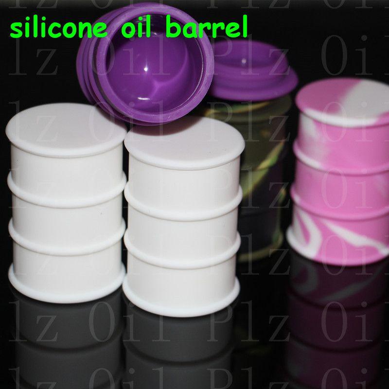 Silikon yağı varil konteyner kavanozlar dab balmumu buharlaştırıcı yağ kauçuk davul şekli konteyner 26 ml büyük silikon kuru ot dabber aracı silikon bong
