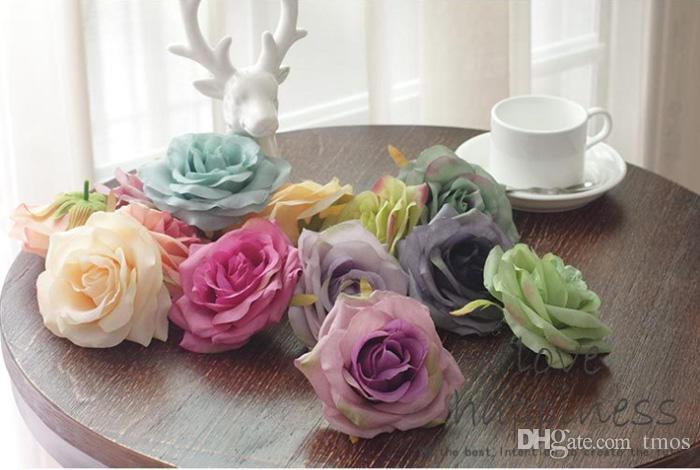 / Teste di seta di seta di colore del petrolio di lusso teste rosa blu del fiore 4.2inch la decorazione di cerimonia nuziale della parete esterna del fiore