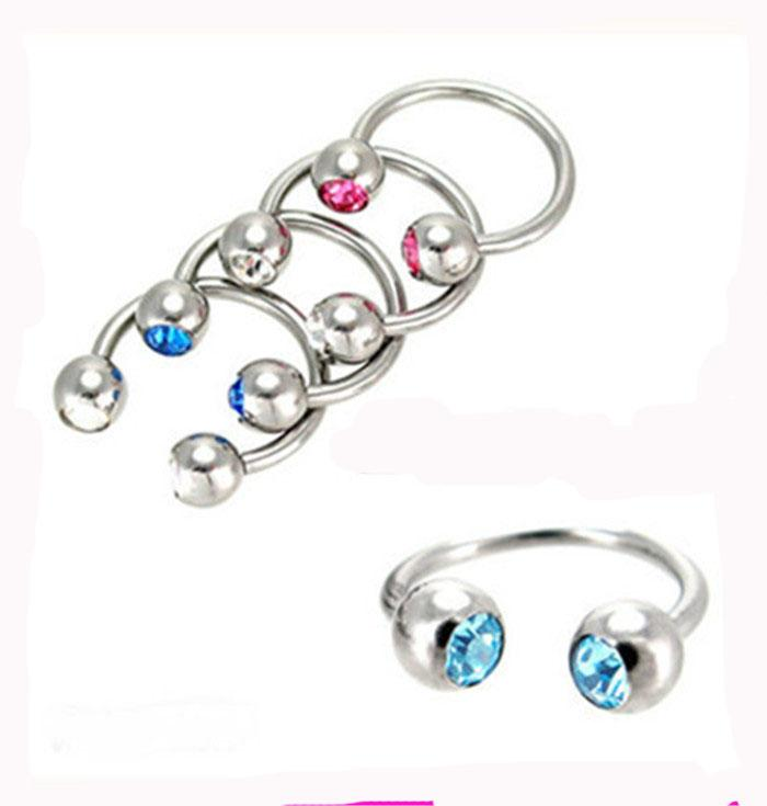 mix Body Piercing Jewelry stainless steel CBR ring double gem nose stud earring horseshoe 2016 Fashion Bijoux