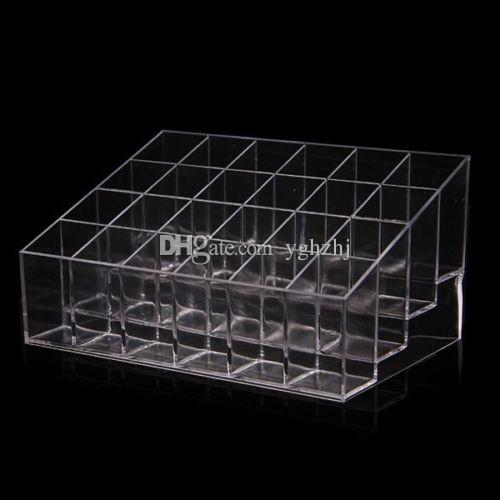 Wholesale Clear Acrylic 24 Lipstick Holder Display Stand Cosmetic Organizer Makeup Case Storage Boxes,