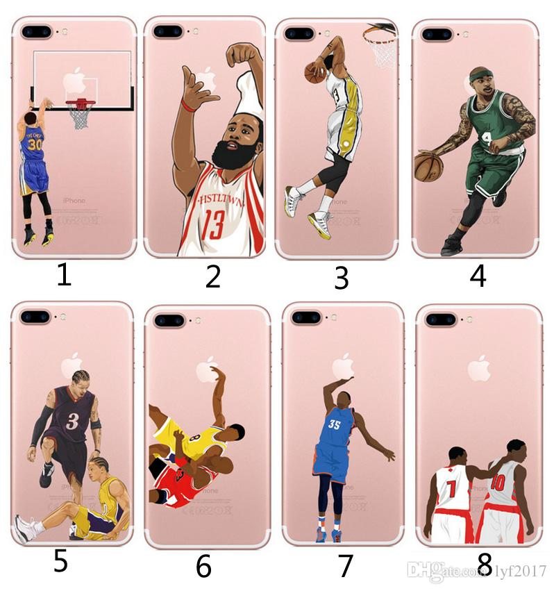 a44c84d8b01e4 Cell Phone Accessories Cases 2018 cartoon Basketball player super thin TPU  soft shell Case Cover Defender For iPhone 5S 6 6s plus 7 7Plus