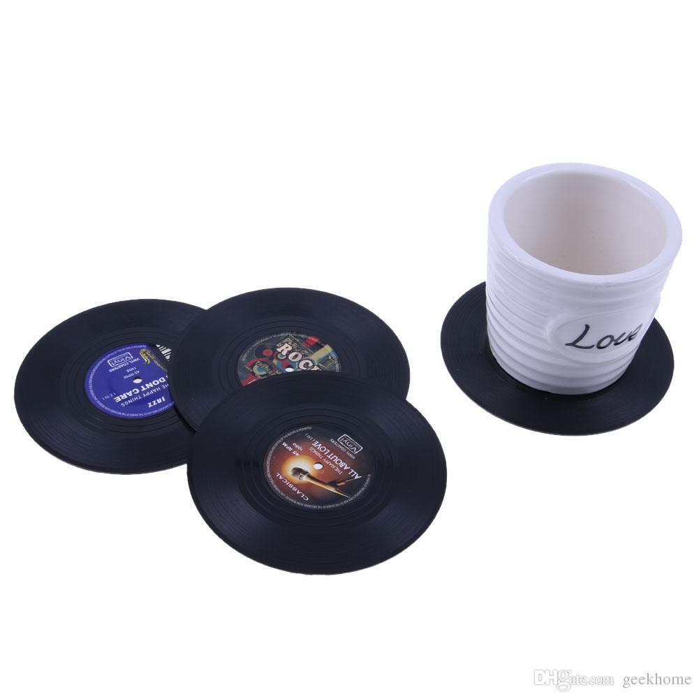 4 قطعة / المجموعة طاولة القهوة كأس ديكور المنزل الإبداعية شرب القهوة تحديد الموقع الغزل الرجعية الفينيل cd سجل المشروبات الوقايات