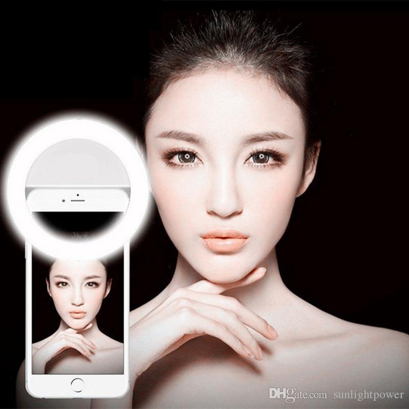 Selfie portátil levou câmera do telefone fotografia luz anel de reforço de fotografia para o smartphone iphone samsung rosa branco