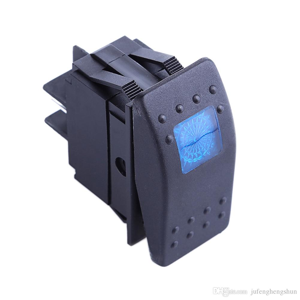 12V 20A Push Button Switch ON OFF 4 Pin Blue LED Light Universal Car Auto Marine Boat Rocker Switch 4P ON-OFF