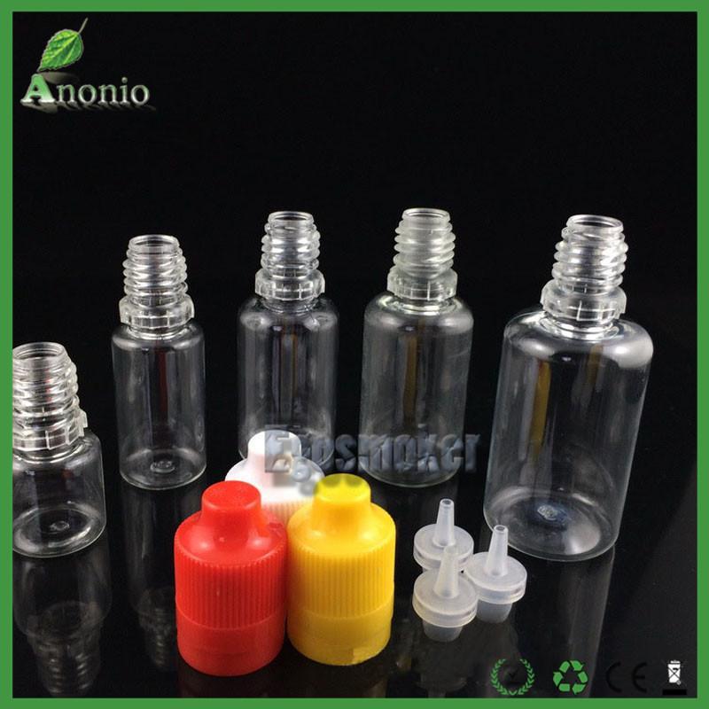 Bouteilles de compte-gouttes en plastique de 5ml 10ml 15ml 20ml 30ml pour les huiles essentielles E liquides bouteilles de Eliquid Ejuice avec le chapeau évident de bourreur