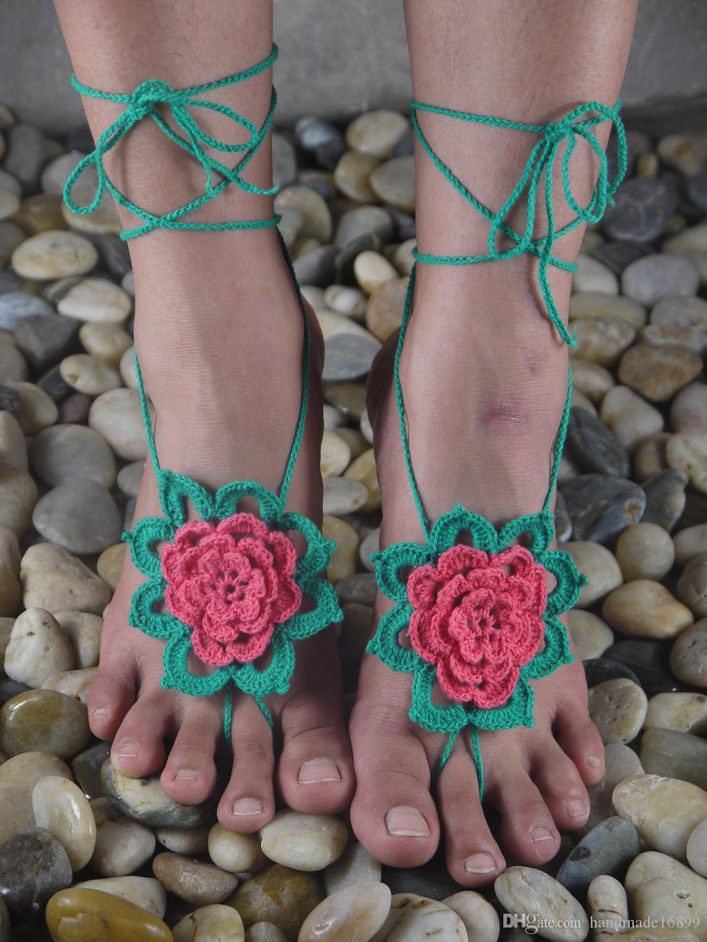 Green flower Crochet Barefoot Sandals Lace Sexy Shoes ,Sandals ,Handmade Summer Sandals Hollow Anklets , Beach Wedding Bridal Party