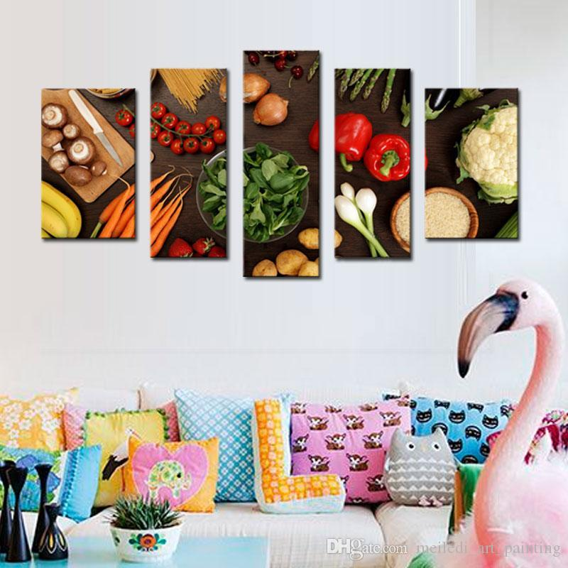 5 Picture Combination Wall Art Table Top Full Of Fresh Vegetables Fruit And Other Healthy Foods On Canvas For Home Decoration