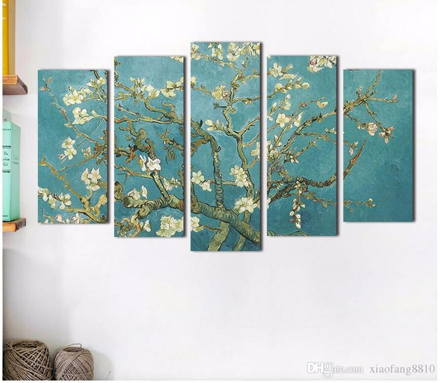 Almond Blossom Van Gogh white flowers picture decoration Canvas Painting wall Art for living room oil print unframed