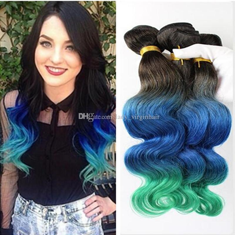 9a Ombre Brazilian Hair Weaves Body Wave 1bbluegreen Three Tone