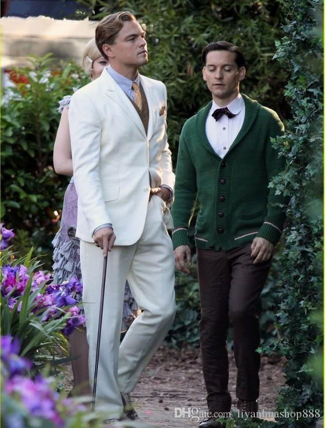 Wholesale-The Great Gatsby Movie Beige Groom Tuxedos Men Wedding Suits mens white wedding dresses Professional cut lover trajes de novio