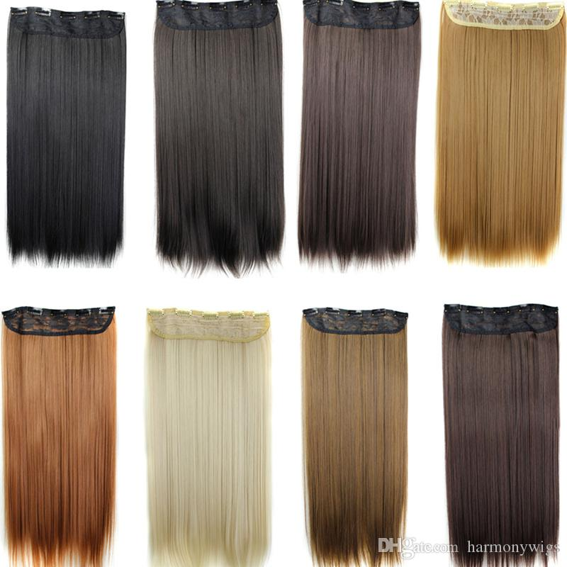 Synthetic Clip In Hair Ponytails 5 Clips Straight Hair Pieces 60cm