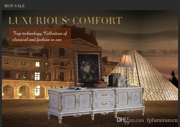 Klassische Möbel der französischen Abgabe - barockes Handwerk, das Farbenfußboden-Kabinett Fernsehkabinett knackt