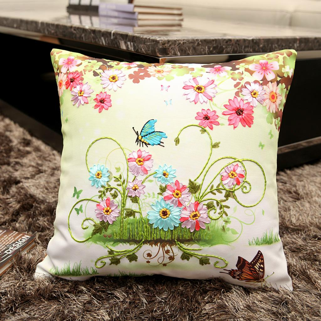 Hot Ribbon Pillow Case Creative Flower Cross Stitch Unfinished DIY Pillow Leaves Butterfly Embroidery Stitching Needlework Gift