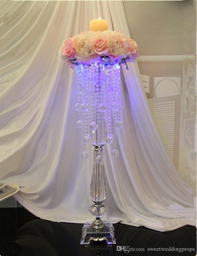Ücretsiz kargo 50 cm yükseklik metal mumluk mum standı düğün centerpiece olay yol kurşun çiçek raf