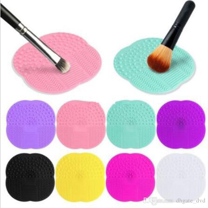 Оптовая силиконовые макияж кисти косметическая щетка для очистки скруббер Совет мат стиральные инструменты Pad ручной инструмент