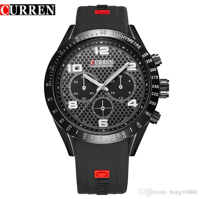curren 8167 with large dial watches rubberbelt fashion false three