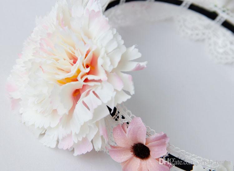 Fasce a mano gotiche Vintage Lace Flower Girl Marca Hairbands Fashion Princess Lolita Sweety Fasce donna Accessori capelli da festa