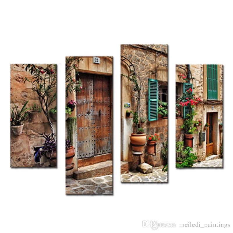 4 Picture Paintings Wall Art Streets Of Old MediterraneanTowns Flower Landscape Painting The Picture Print For Home Decoration Gifts