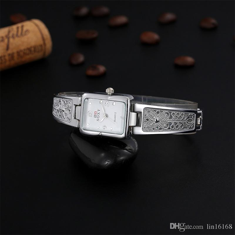 Women Vintage Watches New Brand SOXY Elegant Luxury Quartz Fashion Rectangle Dial Watch Carved Patterns Bracelet Casual WristWatches