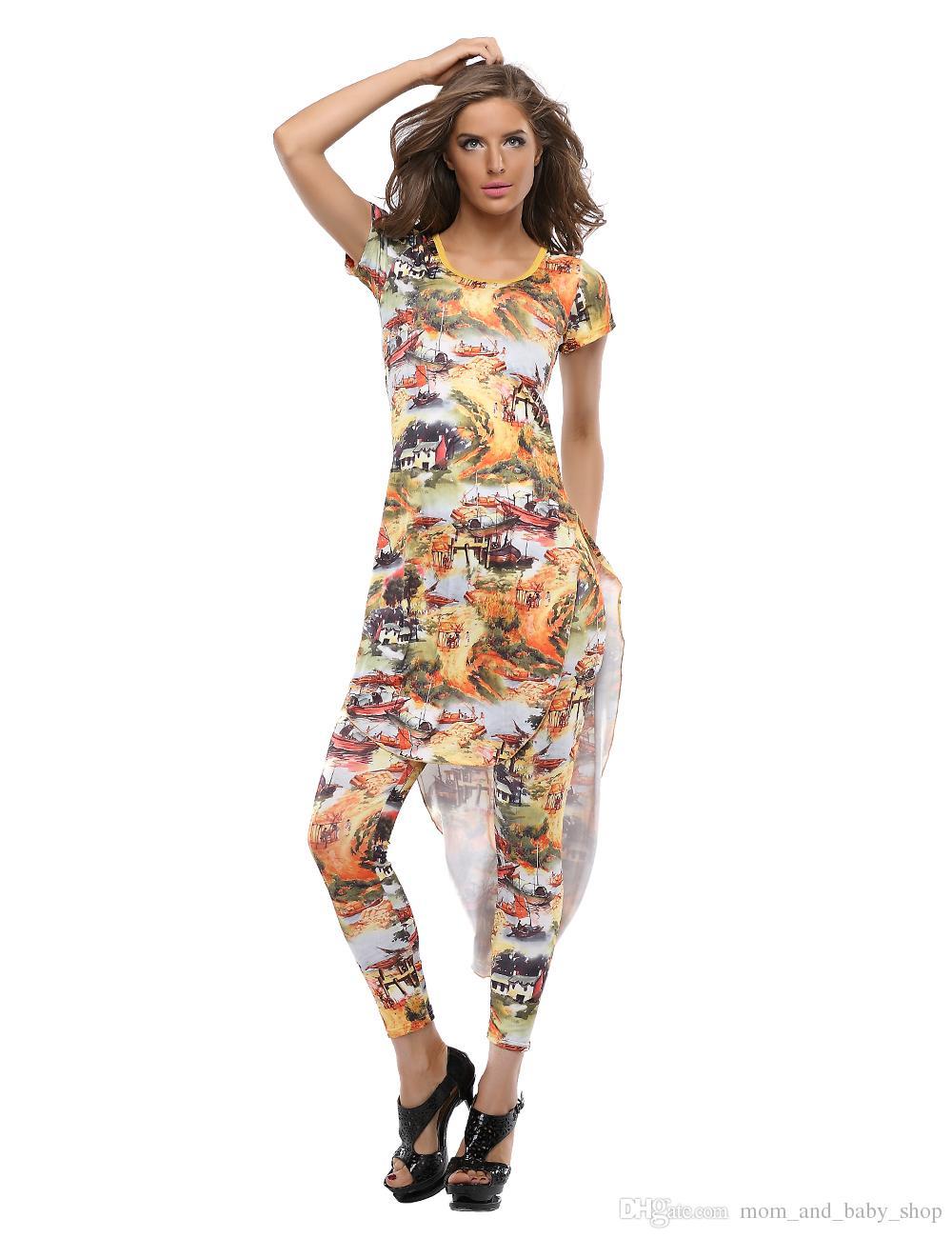 Long Tropical Print Dress Women Cotton Cocktail Prom Maxi Elegant ...