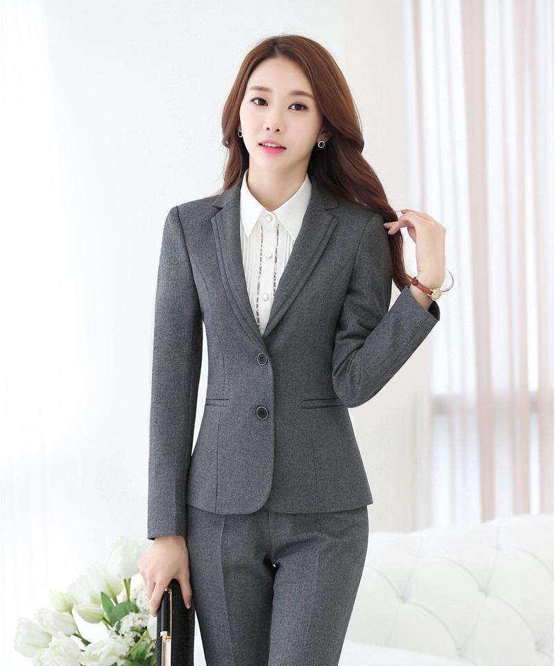 2019 Spring Fall Formal Ladies Grey Blazers Women Work ...