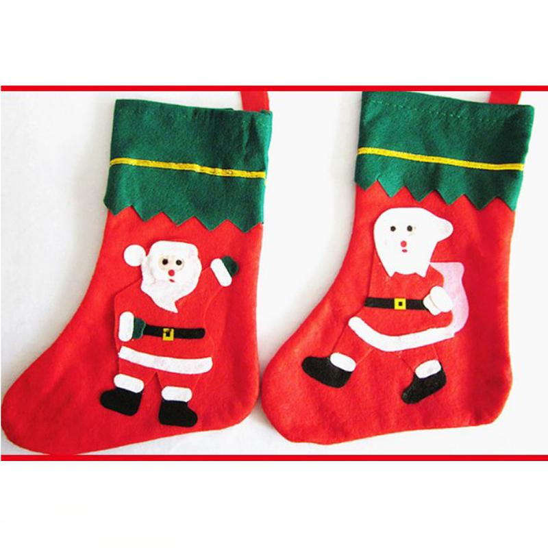 Christmas Hanging Ornaments Xmas Indoor Decoration Santa Claus Snowman Stockings Christmas Socks Candy Gift Bags for Kids
