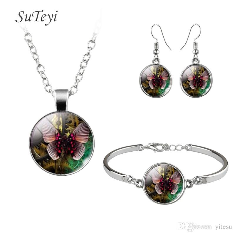 2017 Fashion Animal Glass Dome Necklace Butterfly Crystal DIY Hooks Earrings Handmade Bracelet Jewelry Sets For Wedding