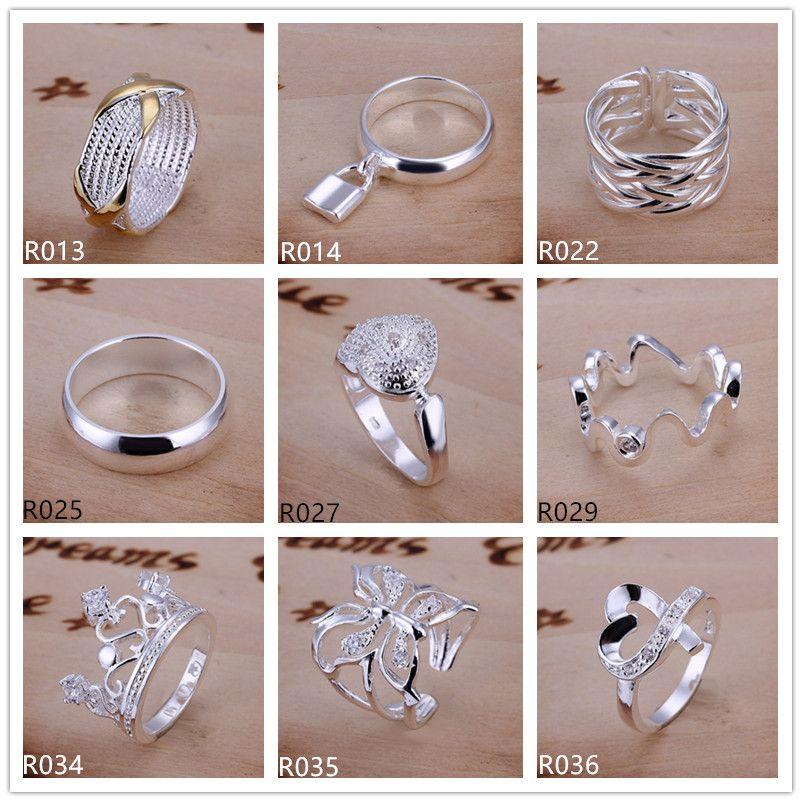 Anillo de plata esterlina plateado 10 piezas mucho estilo mixto EMR5, nuevos modelos de explosión anillo de plata 925 de moda