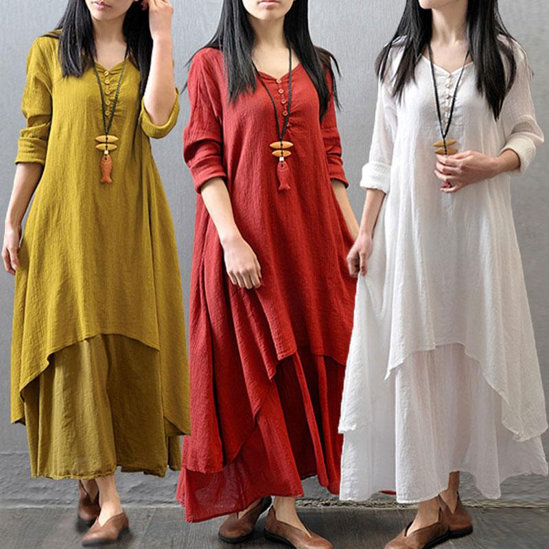Solid Casual Plus Size Dress Spring Autumn Women Elegant Loose Cloth Full  Sleeve V Neck Dresses Cotton Linen Boho Long Maxi Dress