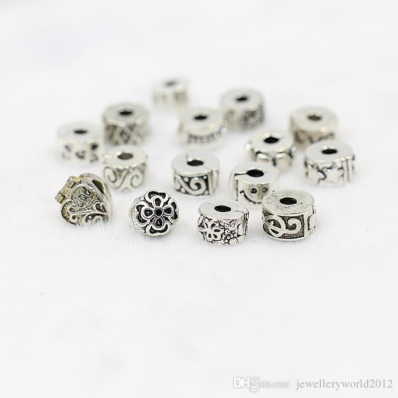 DIY pulseira rolha beads antigo banhado a prata liga fivela Beads Fit Charm Bracelet Mixed 100 pçs / lote