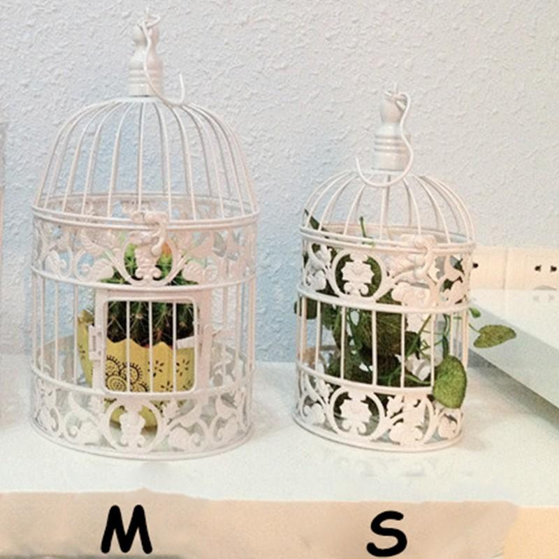 Decorative Weddings Bird Cages Iron Metal White Large Cage Holder