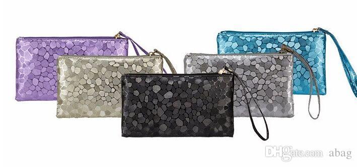 ae0f0a81277c 2016 Fashion Women s Clutch Handbags Purses PU Leather Wallets Stone ...