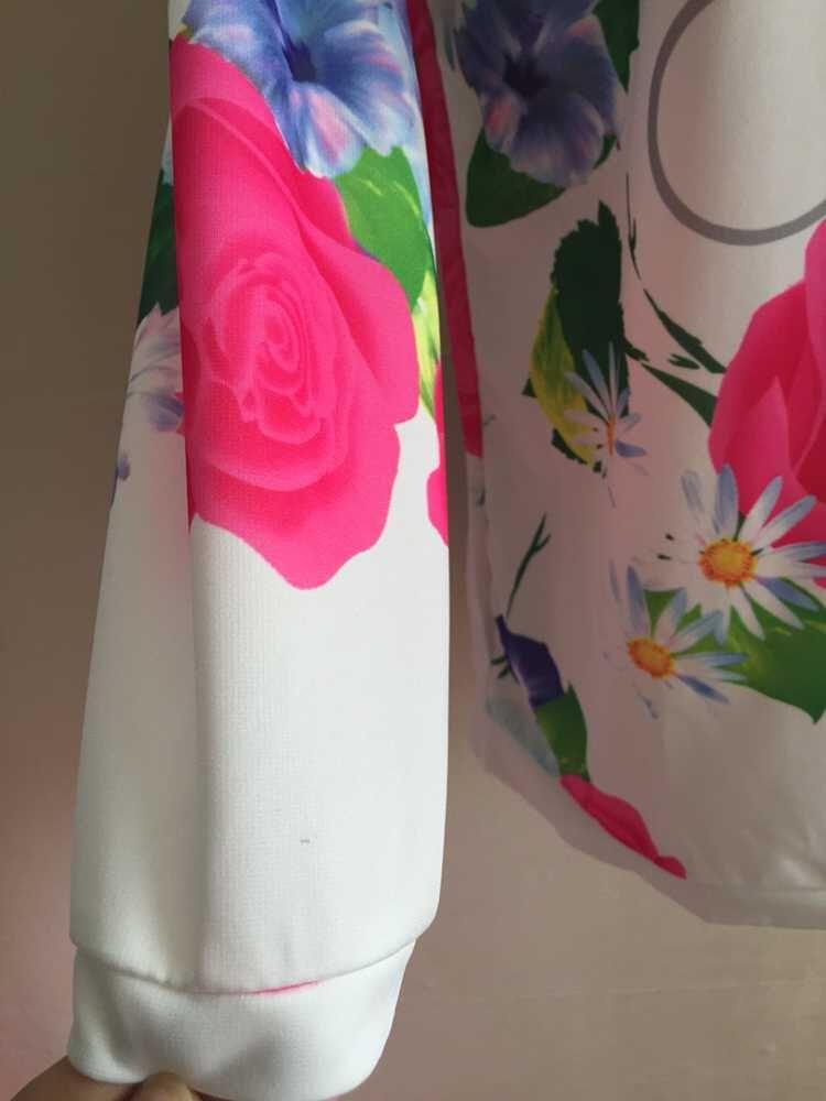 2016 Moda 3D Flor Impresso Camisola Tripulação Pescoço Outono Hoodies Mulheres Casuais Pulôver Do Esporte Treino