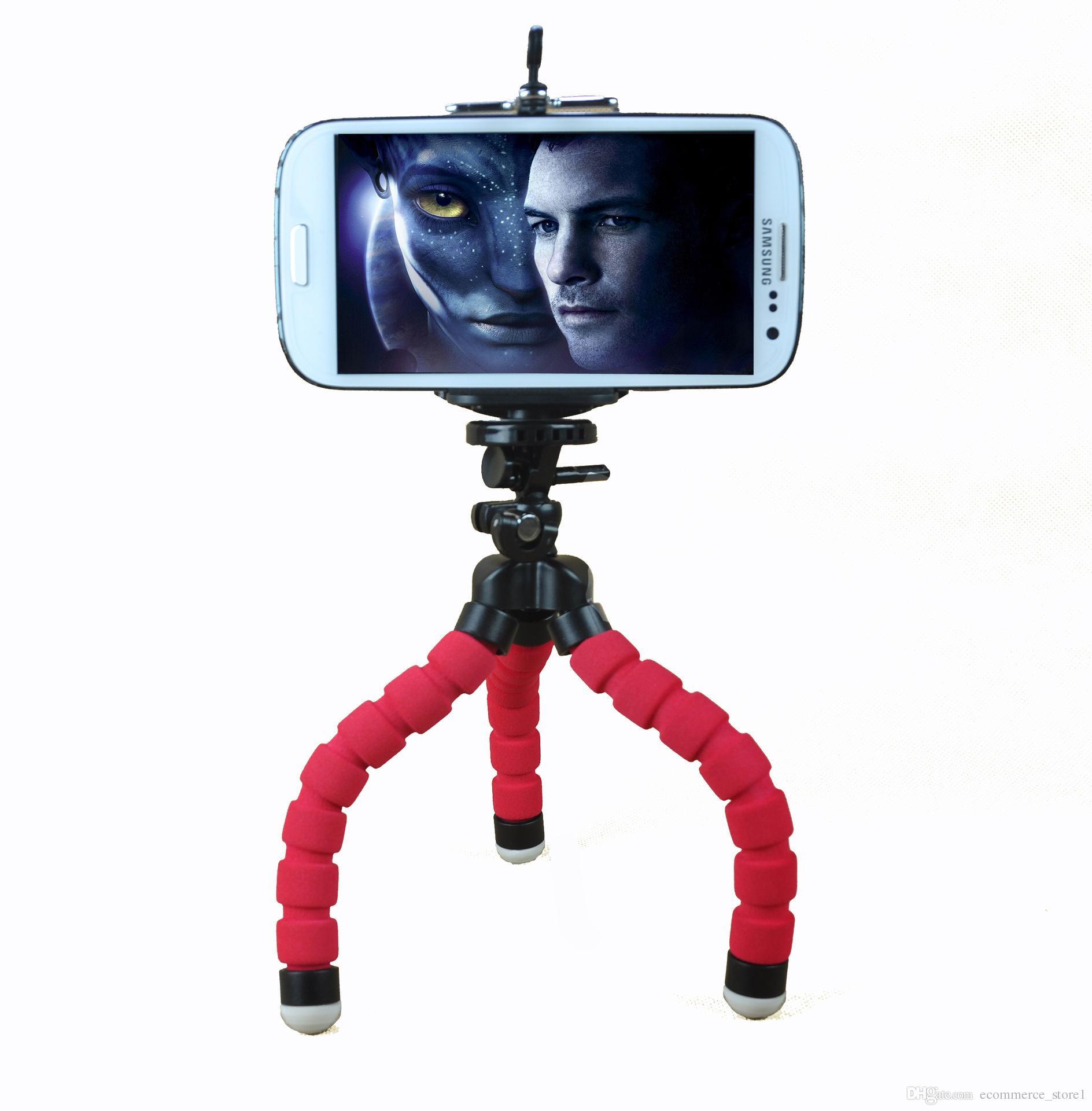 아이폰을위한 미니 유연한 스폰지 낙지 삼각대 삼성 화웨이 휴대 전화 스마트 폰 삼각대 Gopro 카메라 DSLR 마운트 전화 스탠드