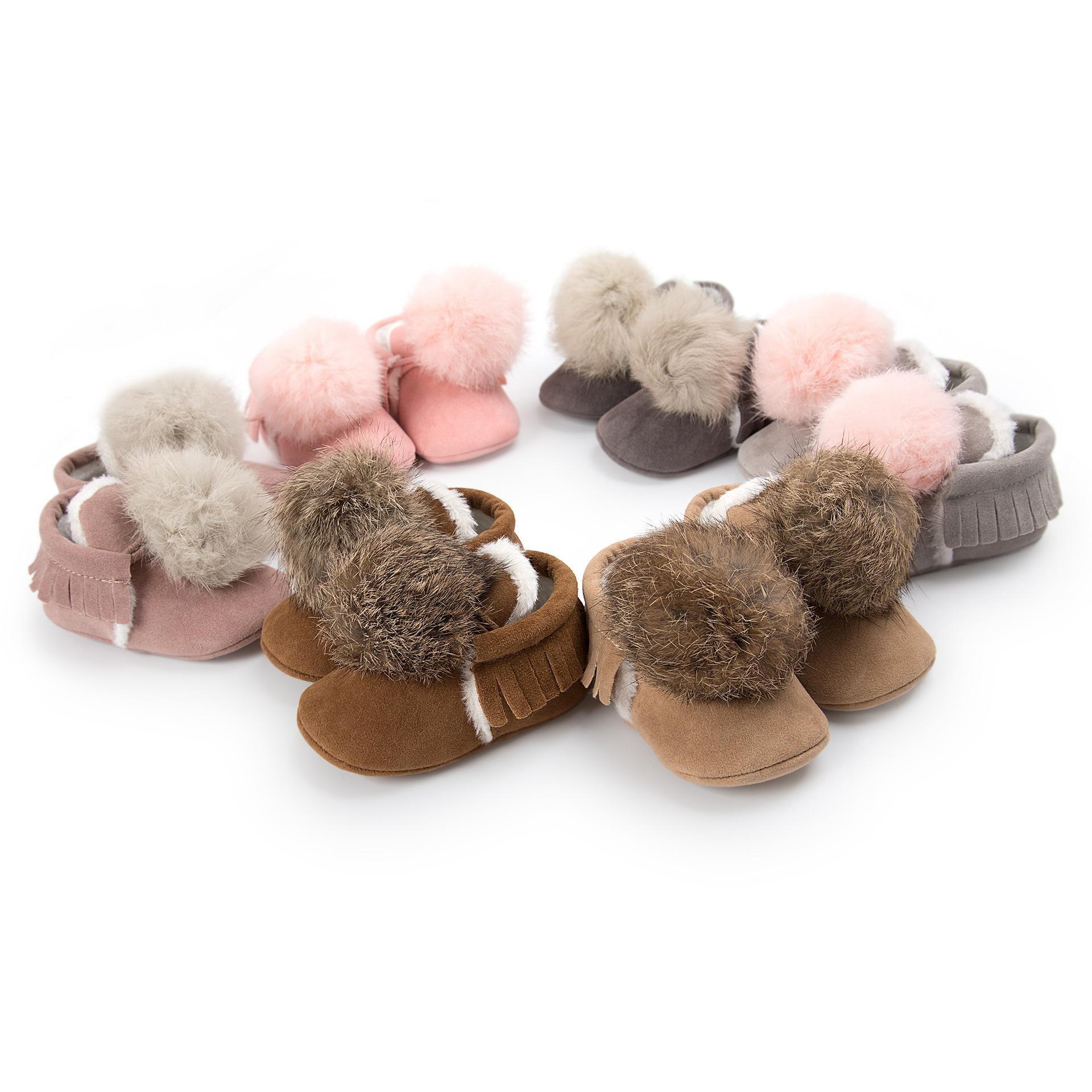 Tassel Baby Shoes Winter big pompon Infant first walkers soft moccasins Girls Boys thicken velvet Toddler outdoor shoes