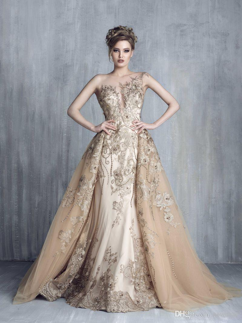 Tony Chaaya 2019 Evening Dresses With Detachable Train Champagne Beads Mermaid Prom Gowns Lace Applique Sleeveless Luxury Party Dress
