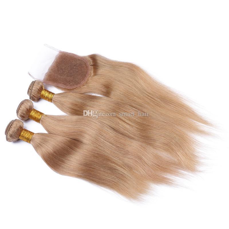 뜨거운 판매 꿀 금발 # 27 헤어 묶음 레이스 폐쇄 브라질 9A 스트레이트 인간의 머리카락으로 엮어 머리 3B는 레이스 폐쇄와 undles