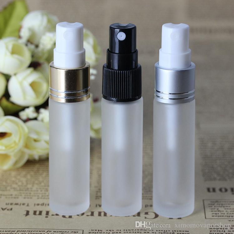 High End Qualité 10ml parfum en verre givré avec flacons d'échantillons 3 couleurs Atomizer 10 ml Bouteille vide Spray Or Noir Argent Couvercles