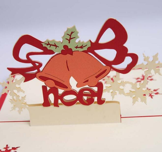 Bells Snowflake Handmade Kirigami Origami 3D Pop UP Greeting Cards Invitation Postcard For Birthday Christmas Party Gift