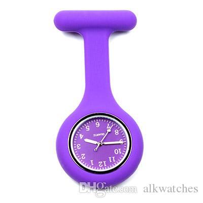 Fob siliconen verpleegster zakhorloge voor ziekenhuis verpleegster arts gebruik broche revers timepiece gift kleurrijke roze paarse rode verpleegklok