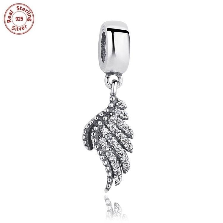 Mother's Day Gifts Cute Angel Pendant Charm with Clear Cubic Zirconia 925 Sterling Silver Charms Beads for Bracelets Jewellery gC2vbWk