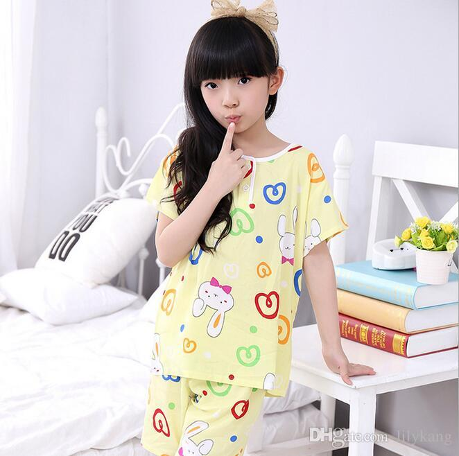 childen girl cotton short sleeves pajamas set summer pyjamas kids sleepwear nightwear lovely homewear for 4-7T