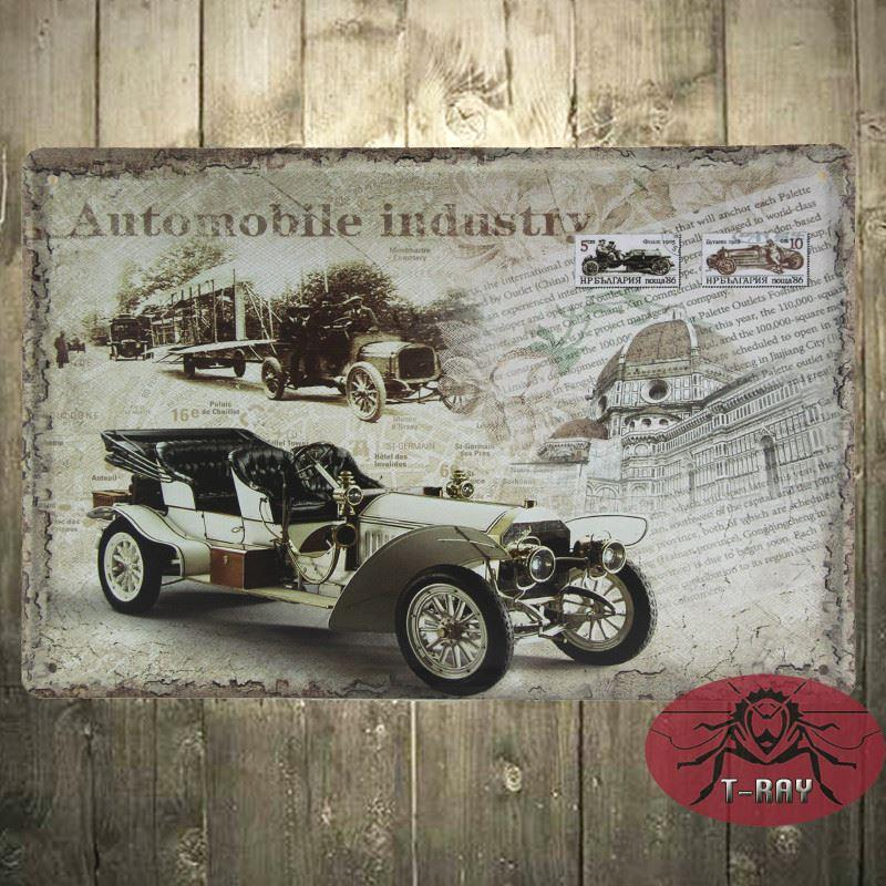 Automobile Industry Bar Dining Room Wall Art Vintage Style Retro ...
