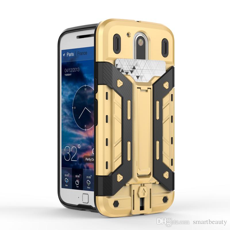 Armor Slide Card Slot Phone Cases For Motorola G4 G4 Plus Havy Duty Kickstand Super Cool Cellphone Back Cover