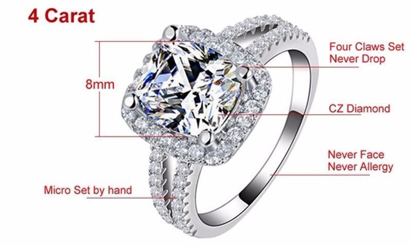 YHAMNI Original Modeschmuck 925 Sterling Silber Trauringe für frauen Mit 8mm CZ Diamant-verlobungsring Großhandel J29HG