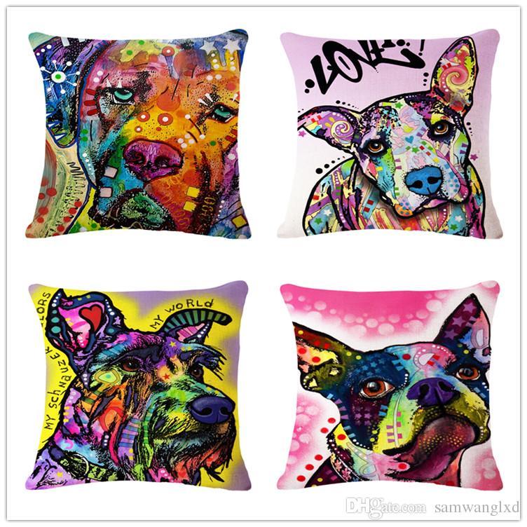 Home Textile Home & Garden Cartoon Decorative Cushion Covers Plain Weave Square Cotton Linen Housse De Coussin Waist Pillow Capa De Almofada
