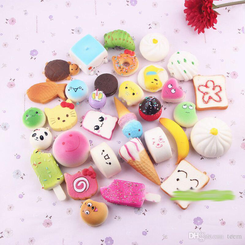 Random /bag squishies toy Slow Rising Squishy miniature food sweetmeats ice cream bread Strawberry Charm Phone Straps Soft Fruit Toys