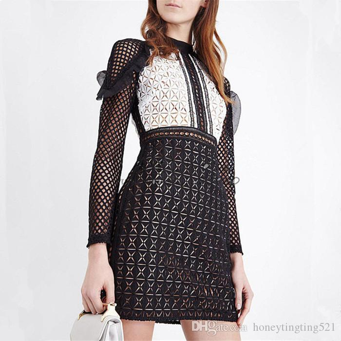 2019 New Design Fashion Women S Sexy Long Sleeve Ruffles Patchwork Black  White Color Block Lace Hollow Out Pencil Short Dress SML From  Honeytingting521 4a904823ec